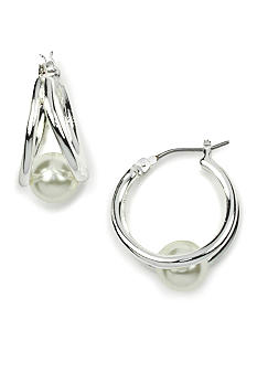 Anne Klein Silver Tone Pearl Hoop Earrings
