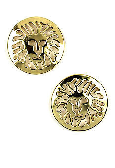 Anne Klein Gold Lion Logo Pierced Button Earrings