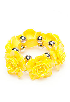 Red Camel Yellow Flower Stretch Bracelet