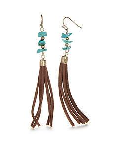 Red Camel Gold-Tone Dream Weaver Tassel Drop Earrings