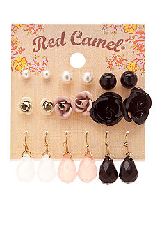 Red Camel Nine Pair Flower Earring Set