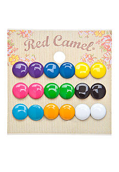 Red Camel 9 Pair Neon Button Earring Set