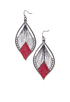 Red Thread Wrapped Teardrop Earrings