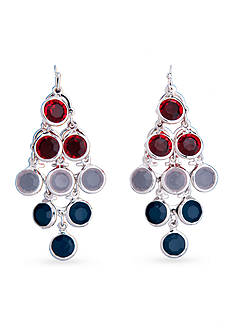 Kim Rogers Silver-Tone Americana Chandelier Earrings