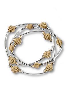 Kim Rogers Silver-Tone Beehive Stretch Bracelet Set