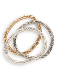 Kim Rogers Tri-Tone Mesh Bracelet Bangle Set
