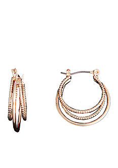 Kim Rogers Gold-Tone Polished and Diamond Cut Hoop Earrings