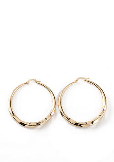 Kim Rogers Gold-Tone Large Twist Hoop Earrings