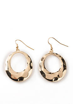 Kim Rogers Gold-Tone Hammered Open Oval Drop Earrings