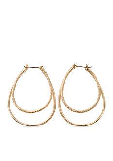 Kim Rogers Gold-Tone Double Teardrop Hoop Earrings