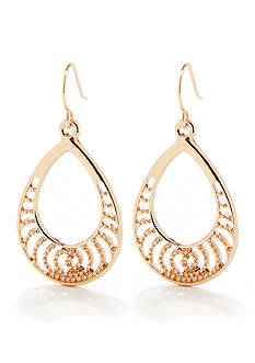 Kim Rogers Gold-Tone Plated Filigree Teardrop Earring
