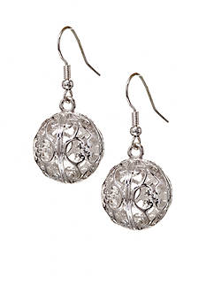 Kim Rogers Silver Plated Filigree Ball Drop Earring