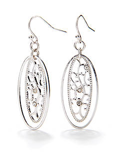 Kim Rogers Silver-Tone Open-Filigree Drop Earring