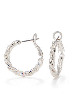 Kim Rogers Plated Twisted Clutchless Hoop Earring