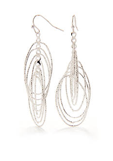 Kim Rogers Silver-Tone Locked Links Drop Earrings
