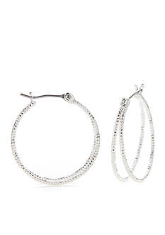 Kim Rogers Silver-Tone Double Hoop Earrings