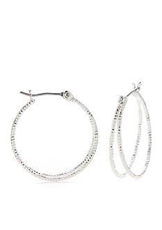 Kim Rogers Silver-Tone Double Hoop Earrings