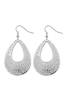 Kim Rogers Silver-Tone Filigree Teardrop Earrings