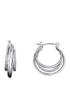 Kim Rogers Silver-Tone Polished and Diamond Cut Triple Hoop Earrings
