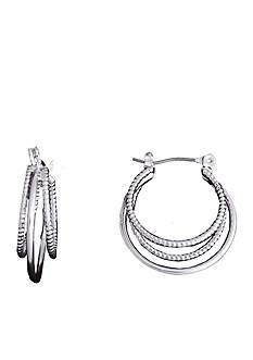 Kim Rogers Silver-Tone Polished and Diamond Cut Triple Hoop Earrings
