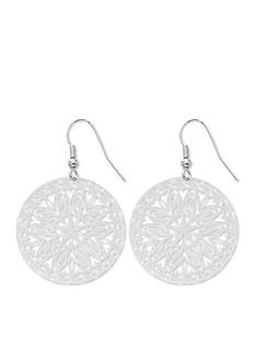 Kim Rogers Silver-Tone Cut Out Design Circular Drop Earrings