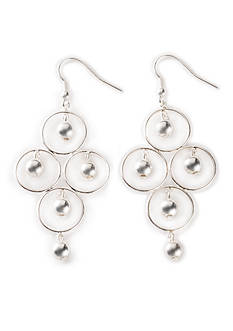 Kim Rogers Silver-Tone Orbital Ball Chandelier Earrings