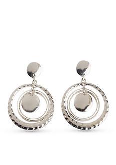 Kim Rogers Silver-Tone Hammered Rings Drop Earrings