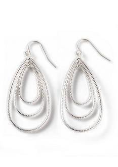 Kim Rogers Silver-Tone Diamond Cut Teardrop Earrings