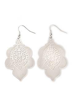 Kim Rogers Silver-Tone Sculptured Filigree Drop Earrings