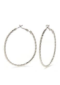 Kim Rogers Silver-Tone Textured Oval Hoop Earring