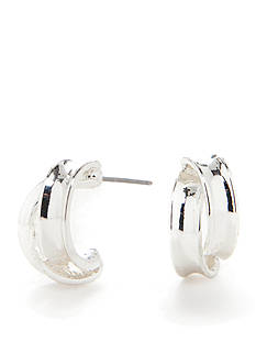 Kim Rogers Silver-Tone Plated Double Hoop Earring
