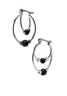 Kim Rogers Small Double Hoops with Jet Ball Earrings