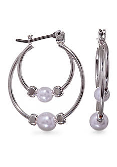 Kim Rogers Silver Plated Double Hoop with Pearl Earrings