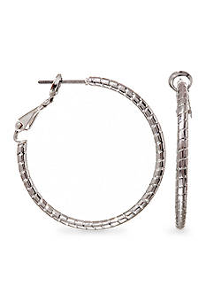 Kim Rogers Silver Plate Medium Hoop Earrings