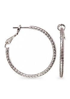 Kim Rogers Silver Plate Medium Hoop Earrings