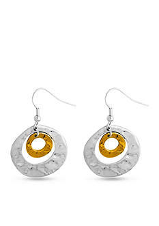 Kim Rogers Two-Tone Hammered Circles Drop Earring