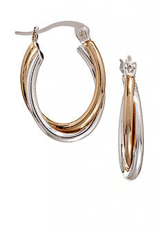Kim Rogers Two Tone Oval Wire Hoop Earrings
