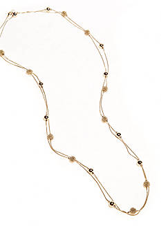 Kim Rogers 72-in. Gold Plated Fashion Necklace with Station Beads