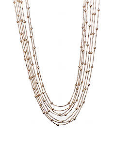 Kim Rogers Gold Plated Multi Strand Necklace with Station Beads