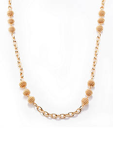 Kim Rogers Gold-Tone Coil Ball Long Chain Necklace