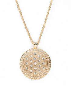 Kim Rogers Gold-Tone Crystal Medallion Pendant Necklace