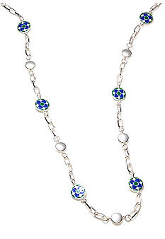 Kim Rogers® 36 Inch Silver Open Link with Blue and Green Enamel