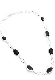 Kim Rogers® Silver Plated 20 Inch Jet Channel Necklace