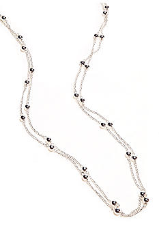 Kim Rogers Silver Plated 72 Inch Ball Station Chain Necklace