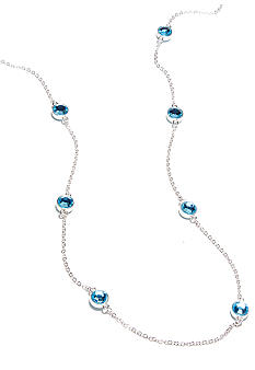 Kim Rogers Round Crystal Aqua Stones Channel Necklace