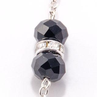 Hypoallergenic Necklace: Jet Kim Rogers Silver-Tone Jet Crystal Fireball Long Strand Necklace