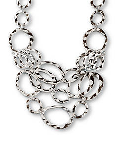 Kim Rogers Silver-Tone Hammered Ovals Statement Necklace