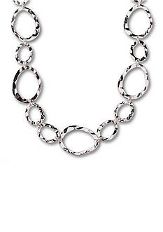 Kim Rogers Silver-Tone Hammered Ovals Chain Necklace