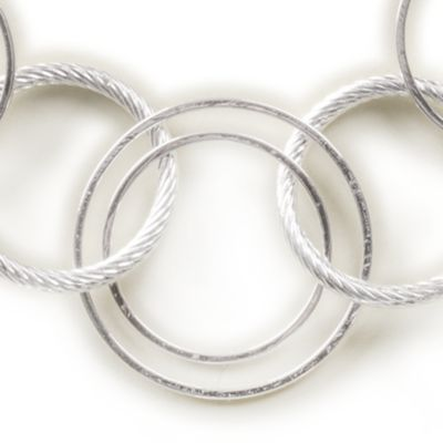 Fashion Jewelry: Silver Kim Rogers Rings and Discs Chain Necklace