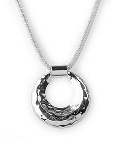 Kim Rogers Silver-Tone Mesh Pendant Necklace